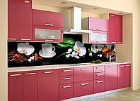Виниловый кухонный фартук самоклеющийся Кофе и Орхидеи (скинали для кухни наклейка ПВХ) натюрморт черный 600*2500 мм