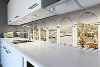 Виниловый кухонный фартук самоклеющийся Белые арки Город (скинали для кухни наклейка ПВХ) античность бежевый 600*2500 мм 3000, 600