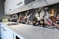 Виниловый кухонный фартук самоклеющийся Аристократические пионы (скинали для кухни наклейка ПВХ) цветы серый, фото 1