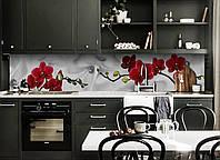 Виниловый кухонный фартук самоклеющийся Красная орхидея шелк (скинали для кухни наклейка ПВХ) цветы серый