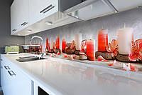Виниловый кухонный фартук самоклеющийся Нежные свечи и цветы (скинали для кухни наклейка ПВХ) релакс красный 600*2500 мм, фото 1
