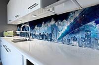 Виниловый кухонный фартук Космический мост (скинали для кухни наклейка ПВХ) небо Город Синий 600*2500 мм, фото 1