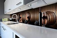 Виниловый кухонный фартук Винные бочки (скинали кухни наклейка ПВХ) вино доски Напитки Коричневый 600*2500 мм
