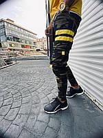 Джинсы мужские демисезонные камуфляжные с желтыми полосками MN Jeans
