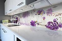 Виниловый кухонный фартук Лаванда и Сирень (скинали для кухни наклейка ПВХ) Цветы Фиолетовый 600*2500 мм