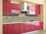 Виниловый кухонный фартук Винтажные Хризантемы (скинали для кухни наклейка ПВХ) под обои Орнамент Серый 600*2500 мм