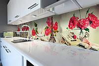 Виниловый кухонный фартук Париж и Розы (скинали для кухни наклейка ПВХ) эйфелева башня цветы Красный 600*2500 мм, фото 1