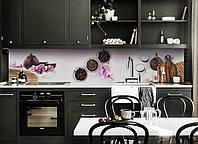 Виниловый кухонный фартук Чайный набор (скинали для кухни наклейка ПВХ) чай орхидеи Восток Розовый 600*2500 мм, фото 1