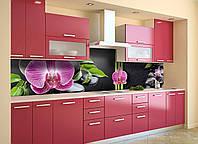 Виниловый кухонный фартук самоклеющийся Гармония (скинали для кухни наклейка ПВХ) орхидеи камни Черный 600*2500 мм