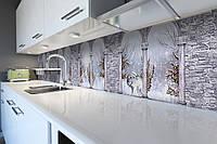 Виниловый кухонный фартук Зимняя Арка (скинали для кухни наклейка ПВХ) под кирпич снег колонны Серый 600*2500 мм