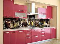 Виниловый кухонный фартук Винтажные игрушки (скинали наклейка ПВХ) сказка Абстракция свечи Коричневый 600*2500 мм