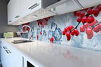Виниловый кухонный фартук Зимняя Калина (скинали для кухни наклейка ПВХ) лед красные ягоды Голубой 600*2500 мм, фото 1