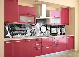 Вініловий кухонний фартух Ретро Чорно-білий скіналі наклейка ПВХ фоторамки Абстракція Сірий 600*2500 мм