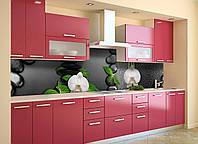 Виниловый кухонный фартук Черные Камни (скинали для кухни наклейка ПВХ) орхидеи капли Текстура 600*2500 мм, фото 1