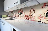Виниловый кухонный фартук Розовое утро (скинали для кухни наклейка ПВХ) розы будильник книги Абстракция 600*2500 мм, фото 1