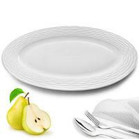 """(Цена за 12шт) Блюдо круглое из фарфора для сервировки стола """"Тесьма"""" белое, 23х16см, блюдо из фарфора, блюдо"""