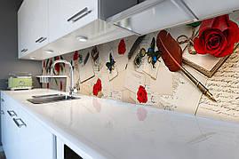 Вініловий кухонний фартух Романтичне Лист скіналі наклейка ПВХ Вінтаж Абстракція Бежевий 600*2500 мм