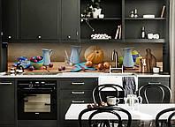Виниловый кухонный фартук Голубой Кувшин (скинали для кухни наклейка ПВХ) осень натюрморт тыква Бежевый, фото 1