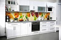 Виниловый кухонный фартук Винтажные Тюльпаны (скинали для кухни наклейка ПВХ) Цветы Желтый 600*2500 мм
