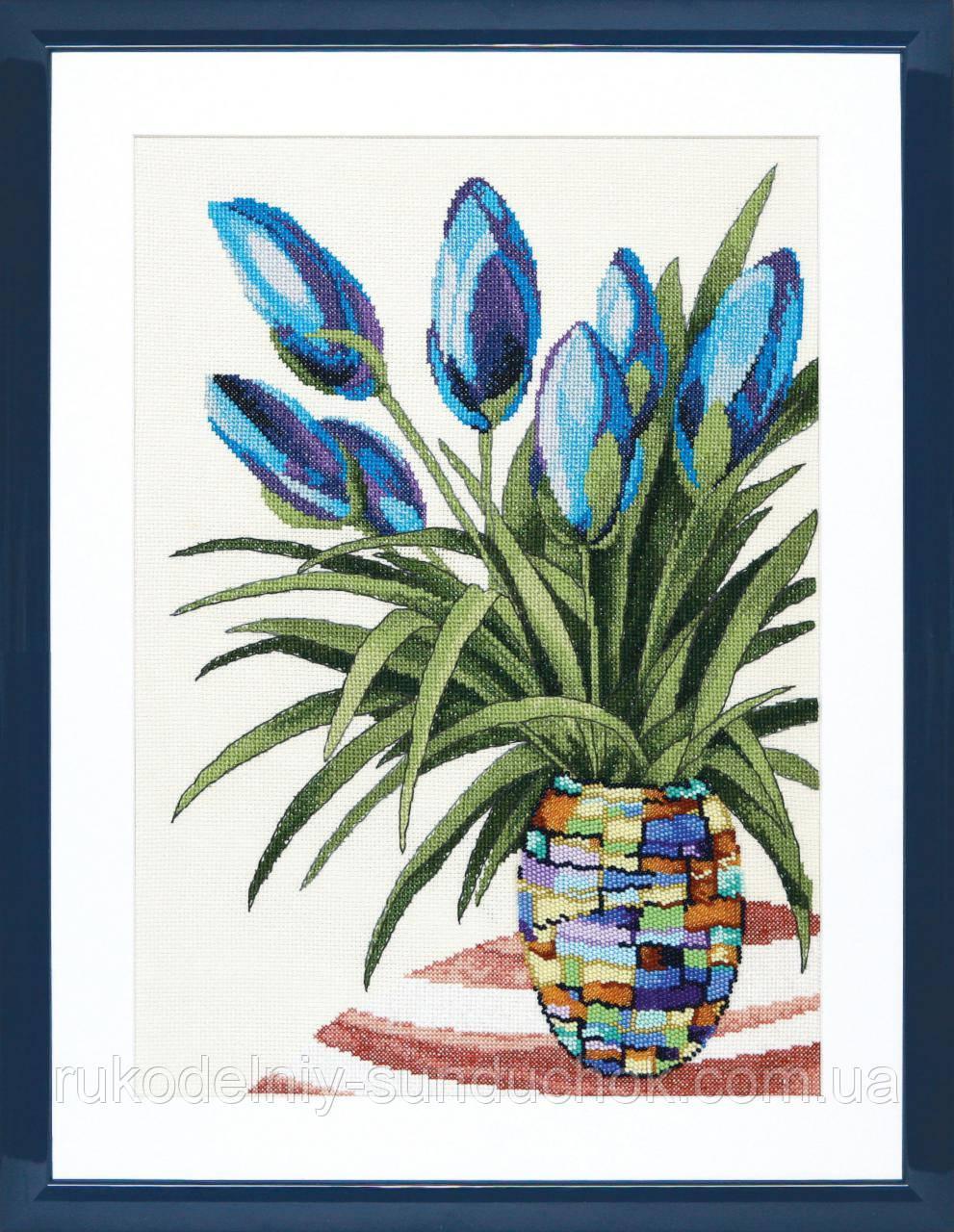 """Набір для вишивки хрестиком Чарівна Мить М-255 """"Блакитні тюльпани"""""""