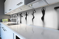 Виниловый кухонный фартук Силуэт Девушки (скинали для кухни наклейка ПВХ) за стеклом Люди Серый 600*2500 мм, фото 1