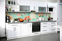 Виниловый кухонный фартук Нежные Розы скинали для кухни наклейка ПВХ Абстракция на голубом фоне 600*2500 мм