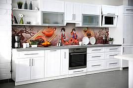 Вініловий кухонний фартух Гейші скіналі для кухні наклейка ПВХ Азія Японія сакура Коричневий 600*2500 мм