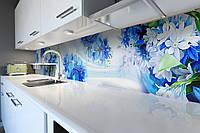 Виниловый кухонный фартук Синие Подснежники (скинали для кухни наклейка ПВХ) цветы коллаж Голубой 600*2500 мм