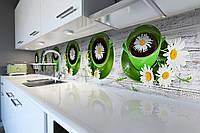 Виниловый кухонный фартук Ромашковый Чай (скинали для кухни наклейка ПВХ) чашки ромашки доски Зеленый 600*2500