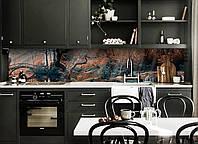Виниловый кухонный фартук Сказочный Мост (скинали для кухни наклейка ПВХ) лес рисунок Природа Коричневый, фото 1