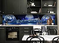Виниловый кухонный фартук Планеты (скинали для кухни наклейка ПВХ) космос ночь Синий 600*2500 мм