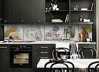 Виниловый кухонный фартук Белые Доски (скинали для кухни наклейка ПВХ) Прованс горшочки Лаванда Белый 600*2500 мм, фото 1