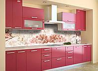 Виниловый кухонный фартук Розы под Плитку (скинали для кухни наклейка ПВХ) цветы бутоны Абстракция Розовый 600*2500 мм, фото 1