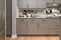 Виниловый кухонный фартук Ретро Стиль (скинали для кухни наклейка ПВХ) Фото часы Абстракция Бежевый 600*2500 мм