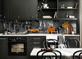 Вініловий кухонний фартух Жовтий Кеб скіналі для кухні наклейка ПВХ Сірий Лондон 600*2500 мм