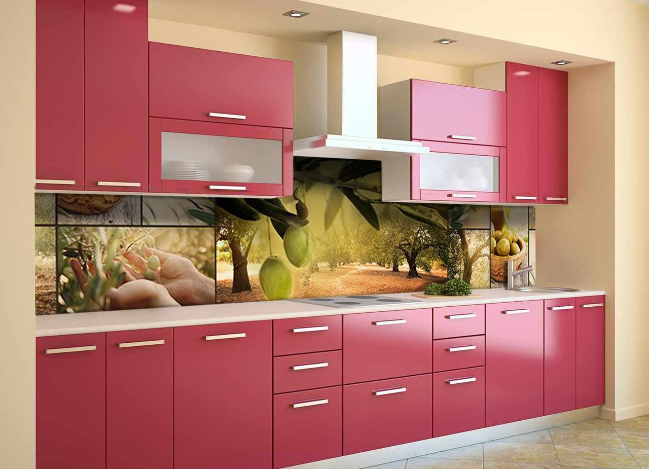 Вініловий кухонний фартух Оливковий гай скіналі для кухні наклейка ПВХ оливки маслини Зелений 600*2500 мм