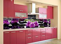 Виниловый кухонный фартук Фиолетовые орхидеи (скинали для кухни наклейка ПВХ) Цветы камни Черный 600*2500 мм
