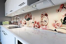 Вініловий кухонний фартух Рожевий ранок скіналі для кухні наклейка ПВХ троянди будильник книги Абстракція