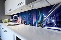Виниловый кухонный фартук Скорость (скинали для кухни наклейка ПВХ) огни ночного города Синий 600*2500 мм, фото 1