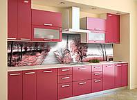 Виниловый кухонный фартук Романтическая Алея (скинали для кухни наклейка ПВХ) розовые деревья эйфелева башня, фото 1