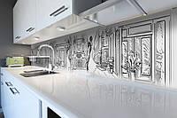 Виниловый кухонный фартук Нарисованный Париж (скинали для кухни наклейка ПВХ) карандаш штрихи рисунок Серый 600*2500 мм, фото 1