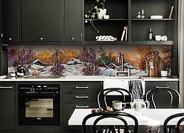 Виниловый кухонный фартук Зима в деревне скинали для кухни наклейка ПВХ лес снег домики Пейзаж Оранжевый