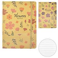 """Блокнот - ежедневник на резинке для записи """"Flowers"""" А6, бежевый, Блокнот, Ежедневник, Записные книжки, Блокнот для записей"""