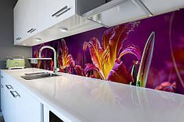 Вініловий кухонний фартух Казкові Лілії скіналі для кухні наклейка ПВХ Квіти Фіолетовий 600*2500 мм