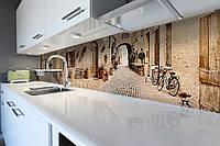 Виниловый кухонный фартук Прованс 03 (скинали для кухни наклейка ПВХ) мощенные улицы брусчатка Город Бежевый 600*2500 мм, фото 1