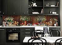Виниловый кухонный фартук Полевые Ромашки (скинали для кухни наклейка ПВХ) букет доски натюрморт Коричневый 600*2500 мм, фото 1