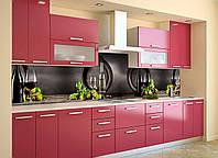Виниловый кухонный фартук Бочки Вино (скинали для кухни наклейка ПВХ) виноград бокалы Напитки Серый 600*2500 мм, фото 1