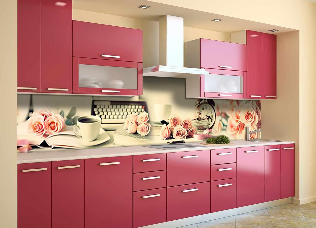 Виниловый кухонный фартук Утро в Париже (скинали для кухни наклейка ПВХ) розы винтаж ретро кофе Розовый 600*2500 мм