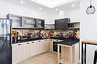 Виниловый кухонный фартук Классические Сладости (скинали наклейка ПВХ) город шоколад фрукты Бежевый 600*2500 мм, фото 1
