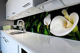 Виниловый кухонный фартук Белые Каллы скинали для кухни наклейка ПВХ цветы пальмы Зеленый 600*2500 мм